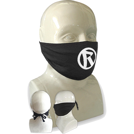 Rebellion 2020 White Logo Tie Back Face Mask